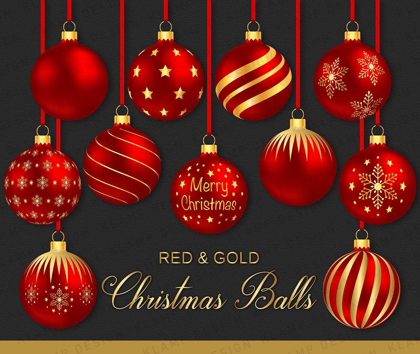 Red And Gold Christmas Balls Clipart Christmas Baubles By