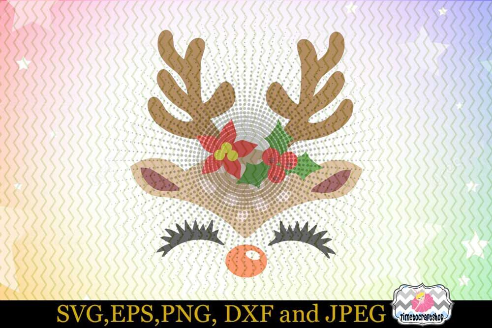 Svg Dxf Eps Png Cutting Files Christmas Reindeer Girl Face