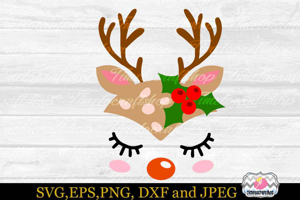 Svg Dxf Eps Png Cutting Files Christmas Reindeer Baby Head By Timetocraftshop Thehungryjpeg Com