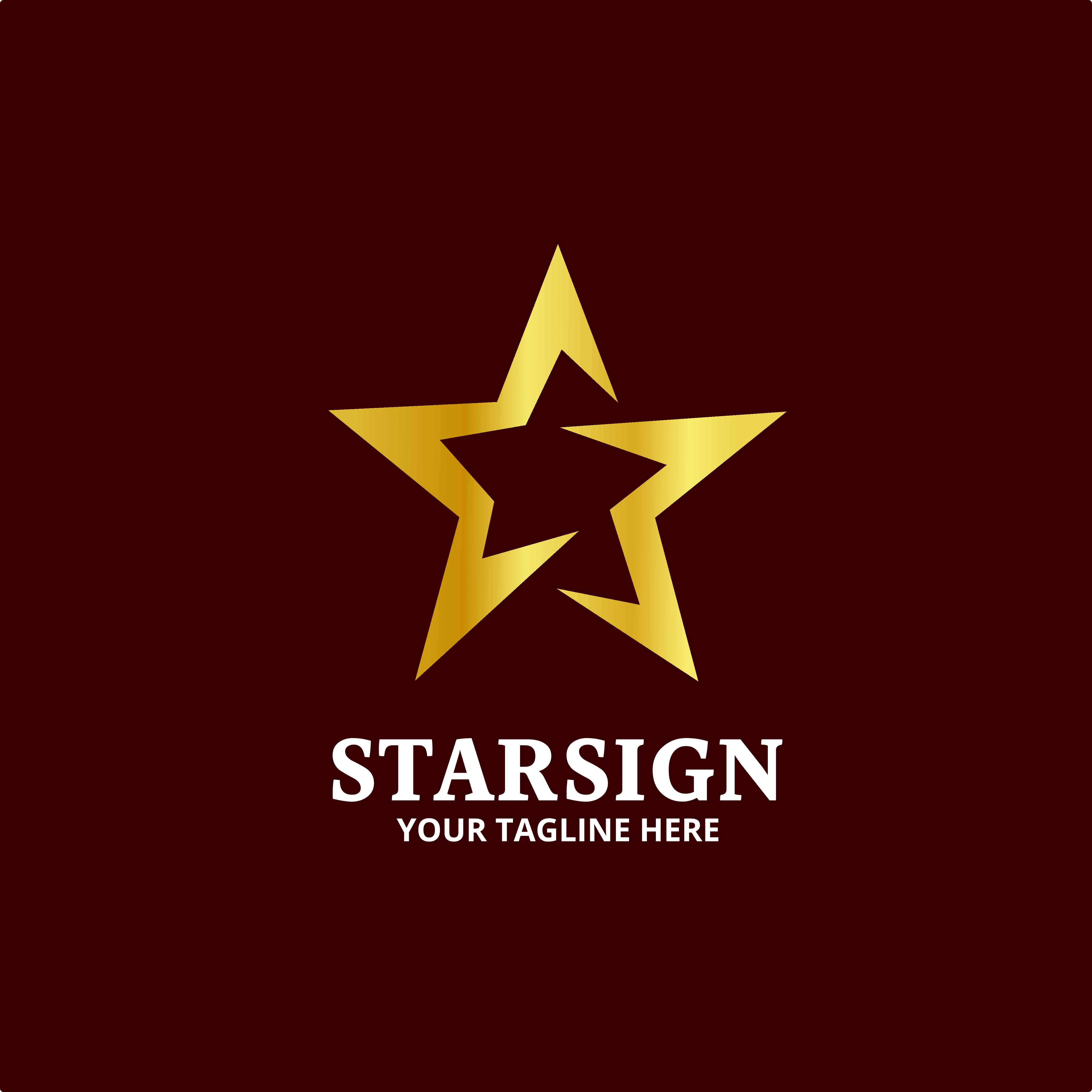 Gold Star Sign Logo Vector By Imaginicon Thehungryjpeg Com