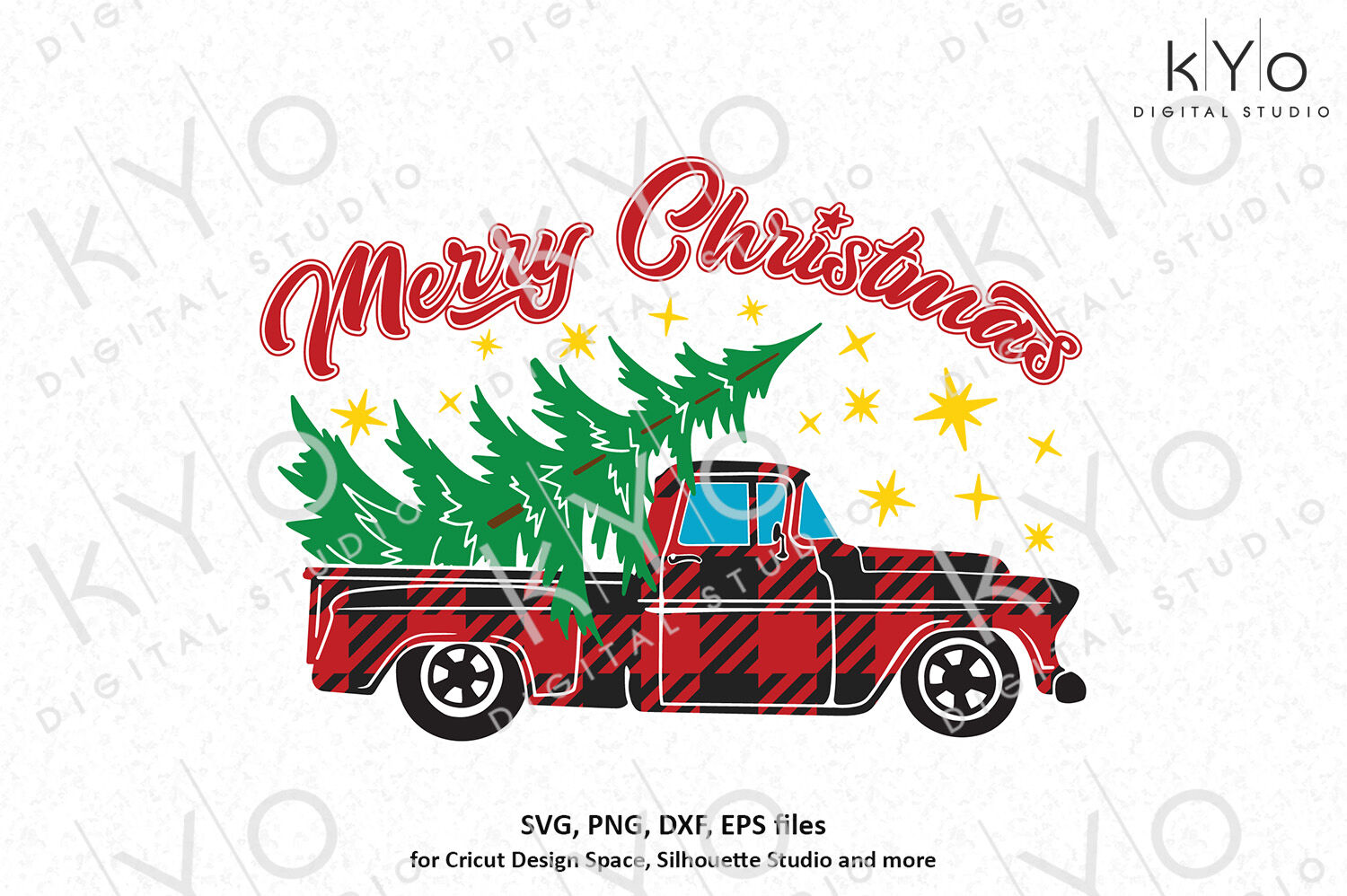 Christmas Buffalo Plaid Old Pickup Truck Svg Png Files By Kyo