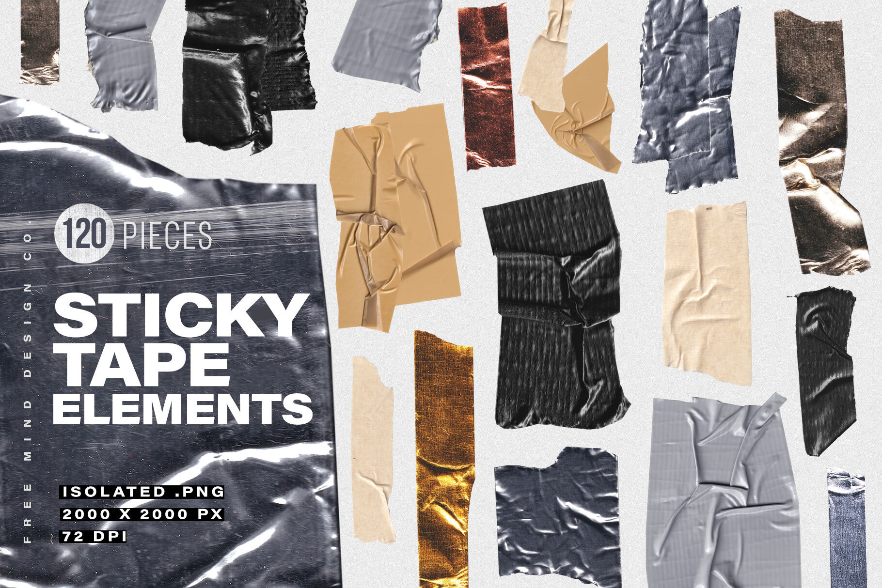 Sticky Tape Elements By Free Mind Design Co Thehungryjpeg Com