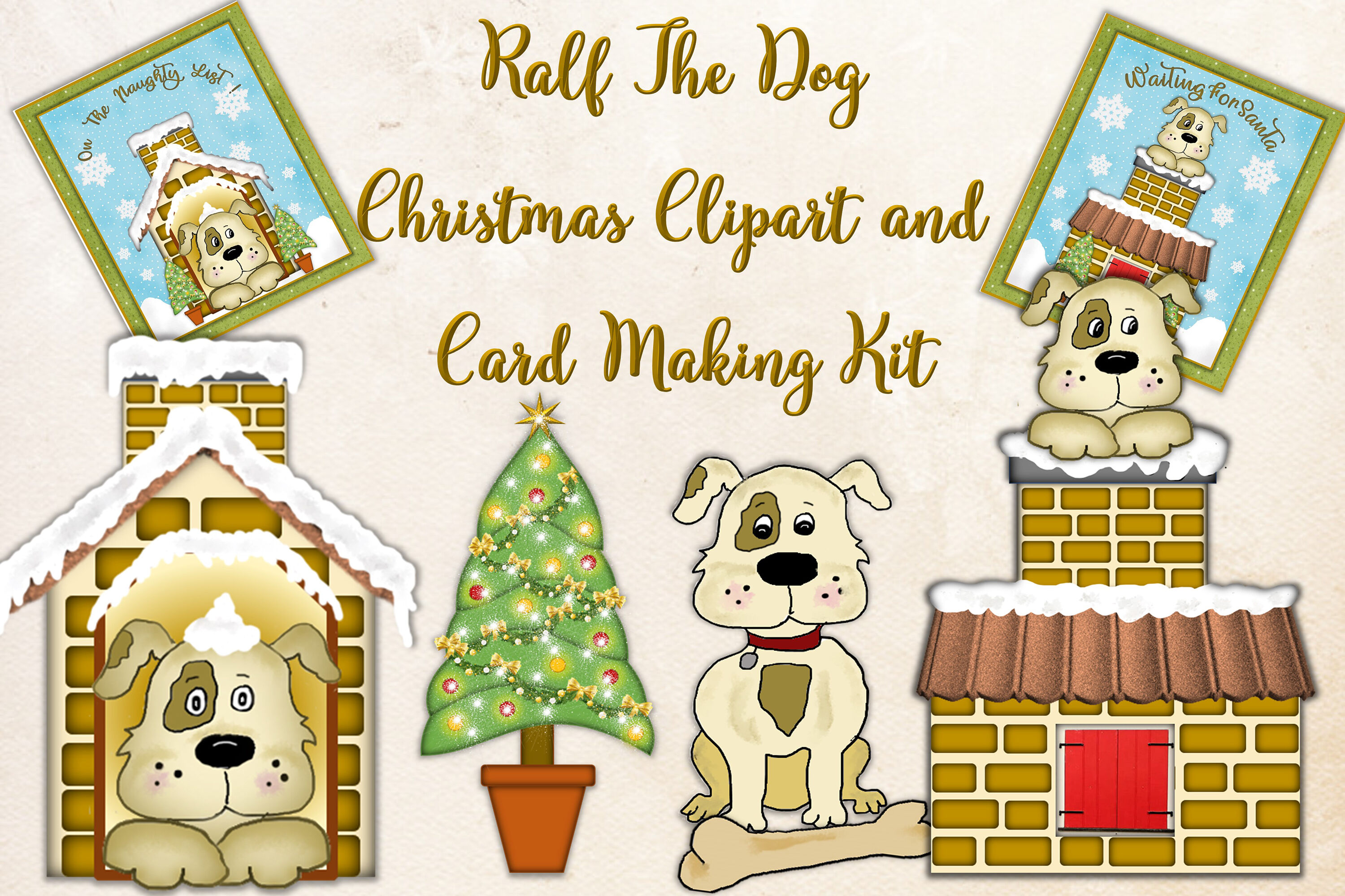 Cute Dog Clipart Bundle With Christmas Card Making Kit By The