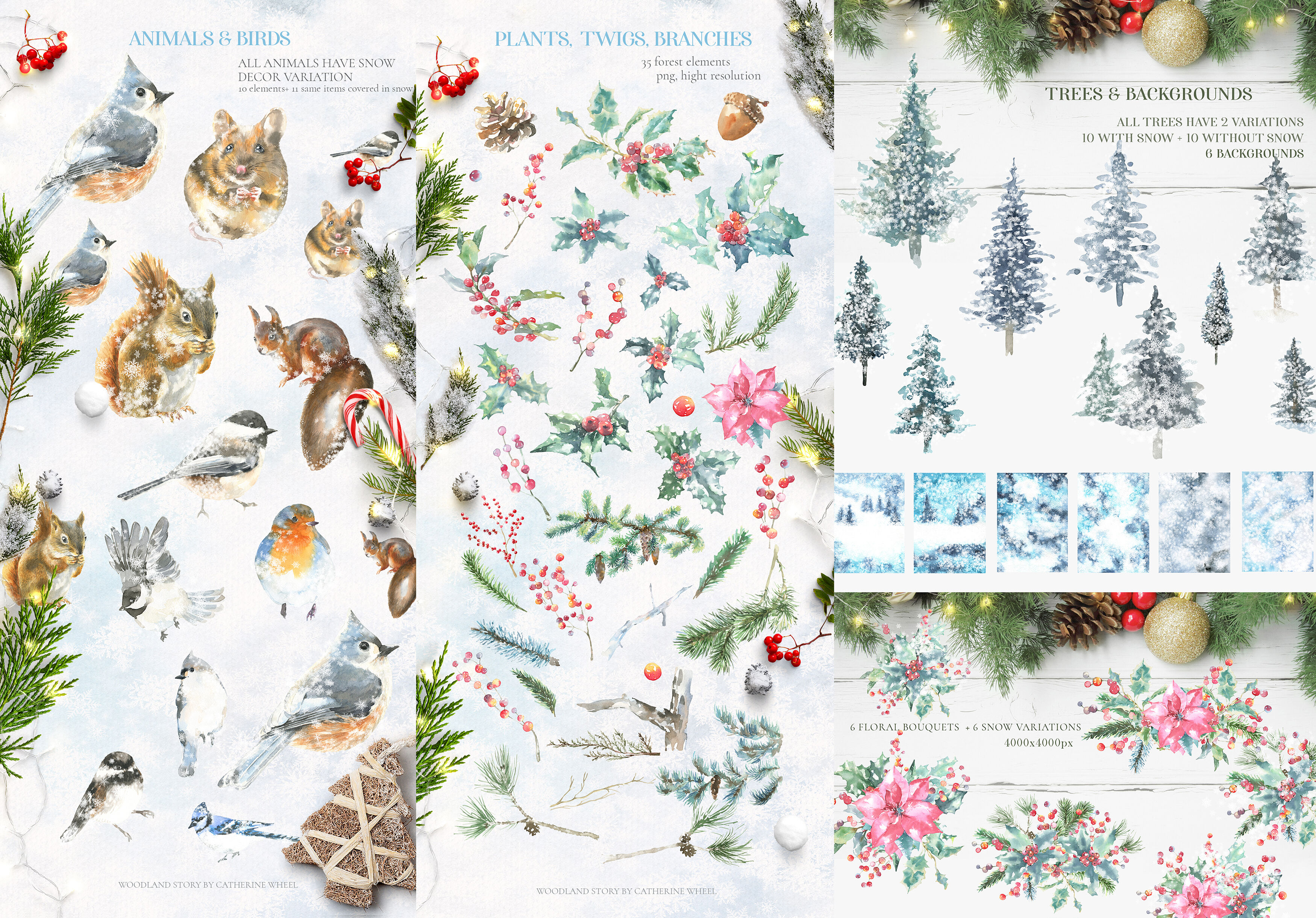 Christmas Watercolor Woodland Story By Catherine Wheel