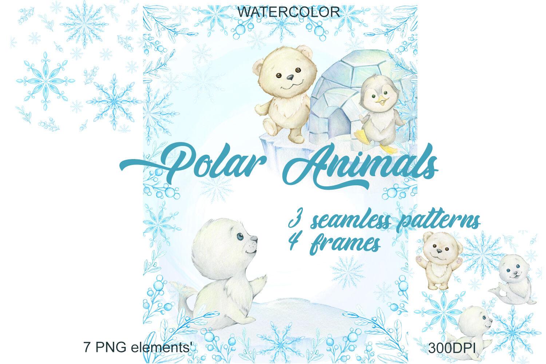 Christmas clipart digital download Watercolor clip art Winter animals clipart penguin and polar bear Printable watercolor clipart Fox