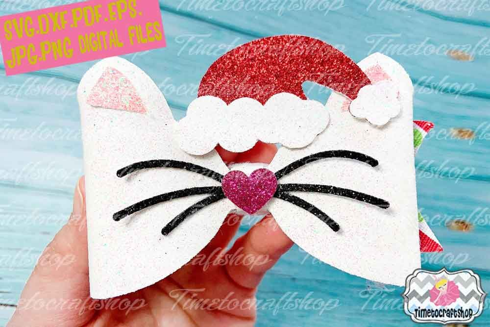 Holiday Christmas Santa Kitty Bow Template Christmas Cat Hair Bow