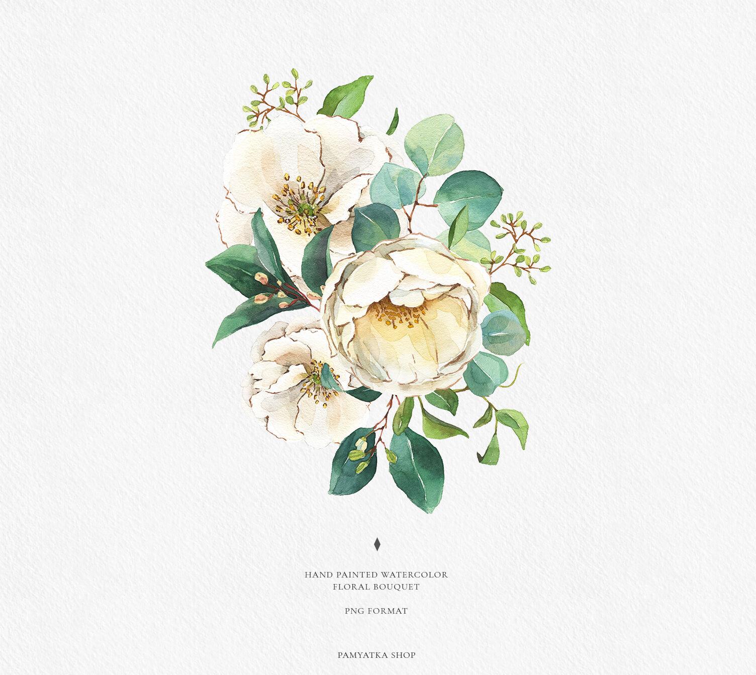 Watercolor White Flowers Greenery By Pamyatka Thehungryjpeg Com