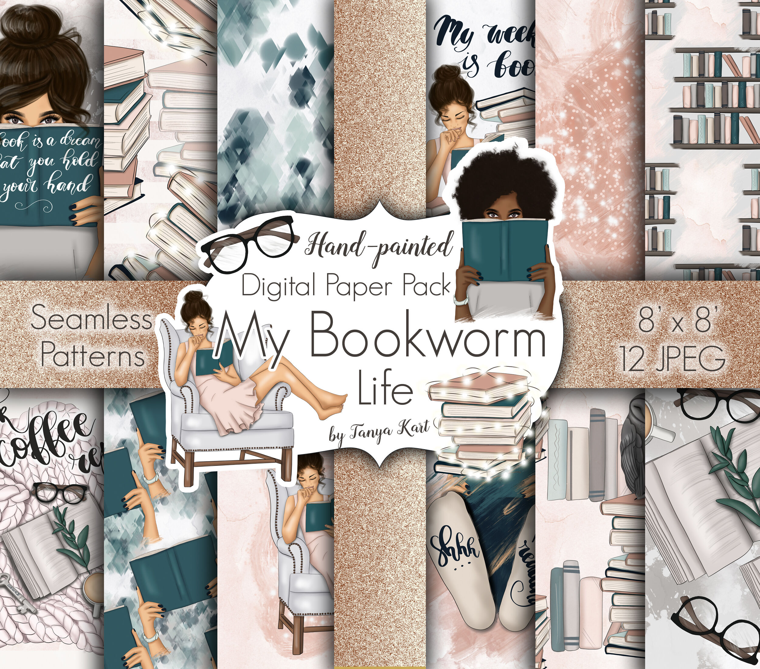 My Bookworm Life Clipart Patterns By Tanya Kart Thehungryjpeg Com