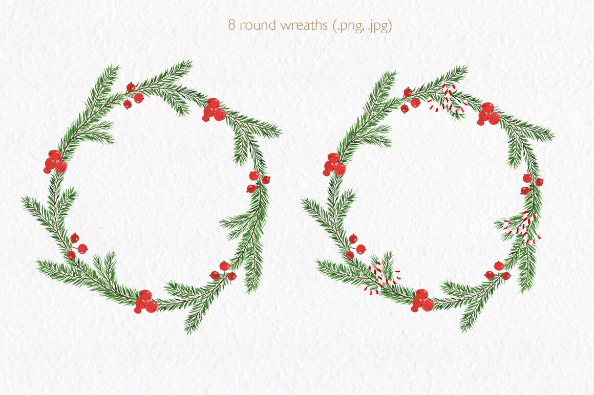 Christmas Watercolor Collection Hand Drawn Illustrations By