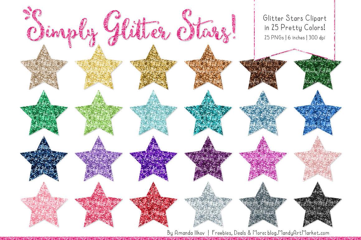 Rainbow Glitter Stars Clipart By Amanda Ilkov Thehungryjpeg Com
