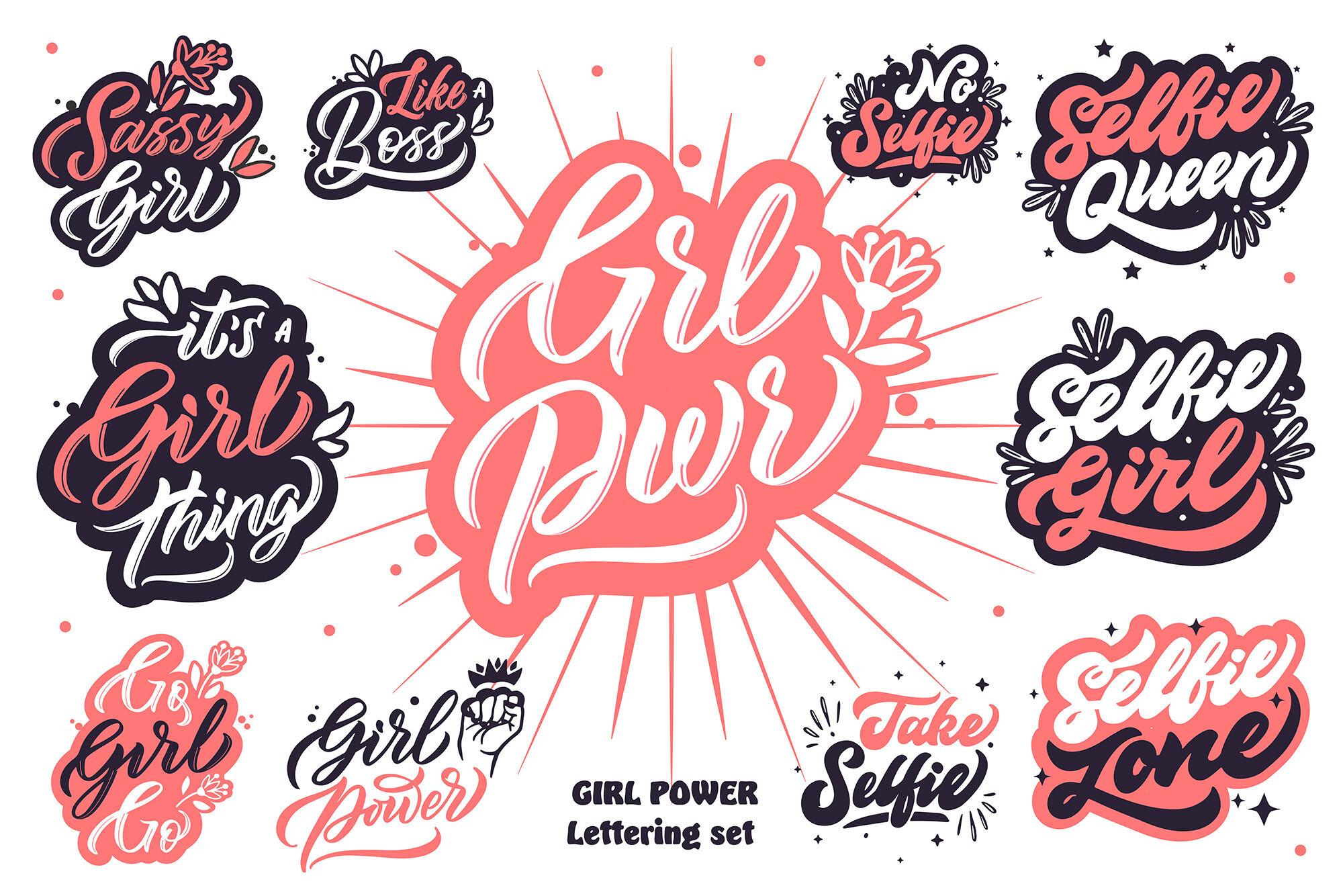Girl Power Lettering Set By Lettering Logo Thehungryjpeg Com