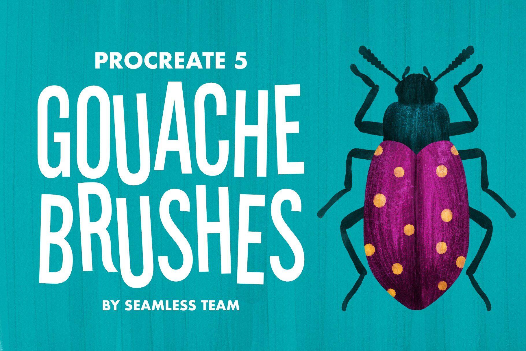 Procreate 5 Gouache Brushes By Seamless Team Thehungryjpeg Com