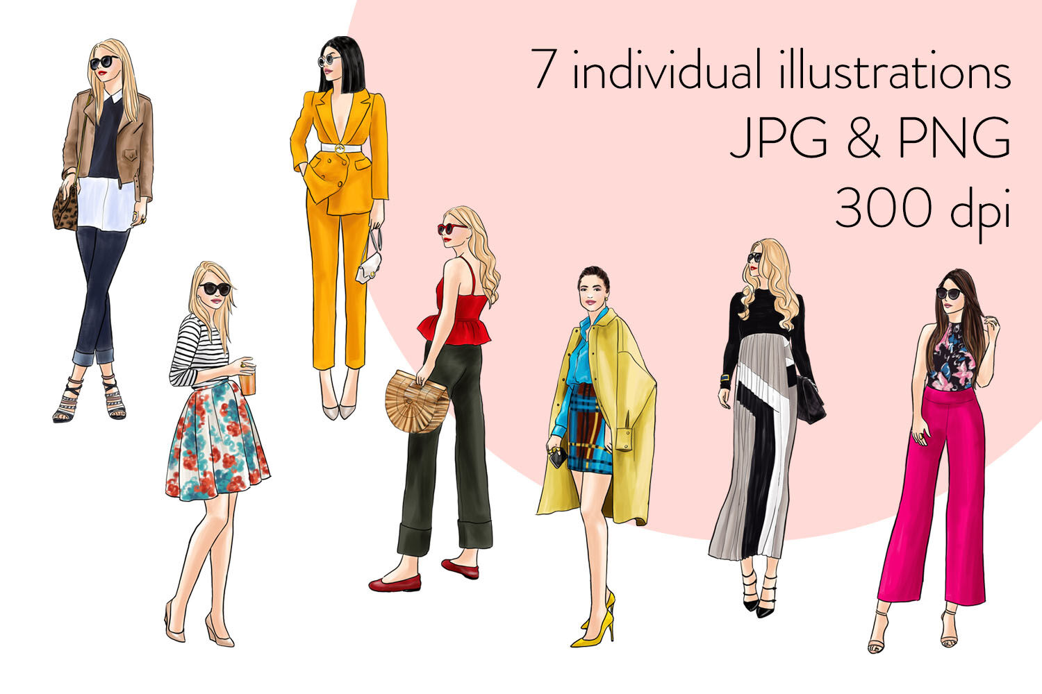 Watercolor Fashion Clipart Fashion Girls 34 Light Skin By