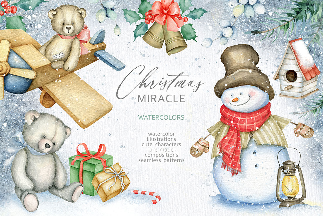 Christmas Miracle Watercolors By Eva Katerina Thehungryjpeg Com