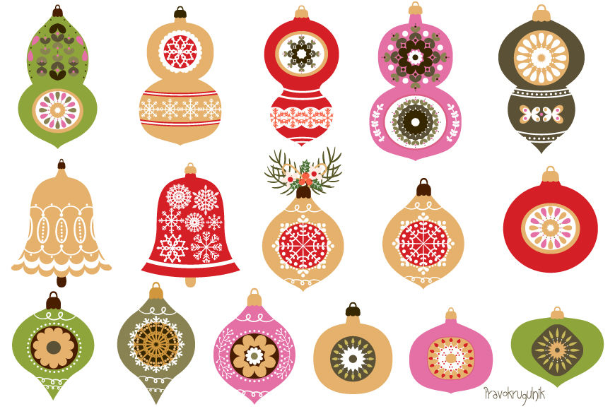 Christmas Ornaments Red And Green Christmas Ornament Clipart