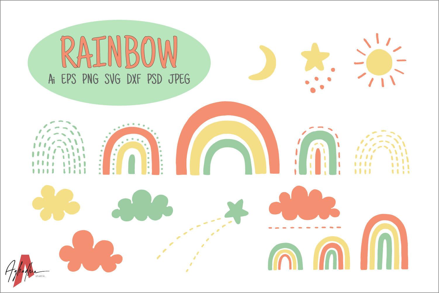Cute Rainbow Set By Aghadhia Designs Thehungryjpeg Com