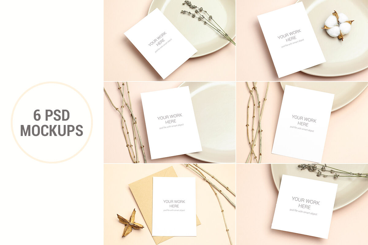 Mockups Invitation Cards Pack Psd With Smart Objects By Paw