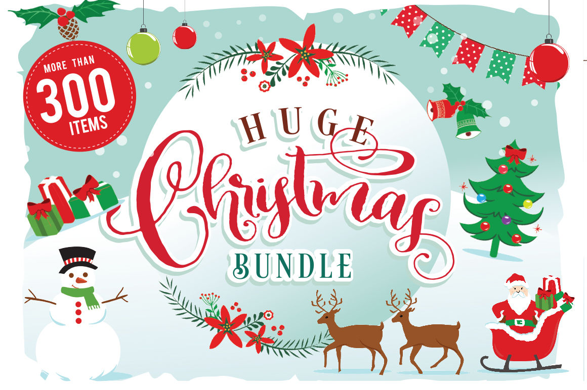 Christmas Clipart Bundle 300 Items By Blackcatssvg Thehungryjpeg Com