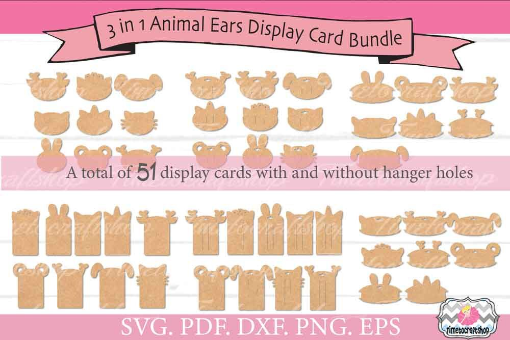 3 In 1 Animal Ears Hair Bow Snap Clip Headband Display Card Bundle