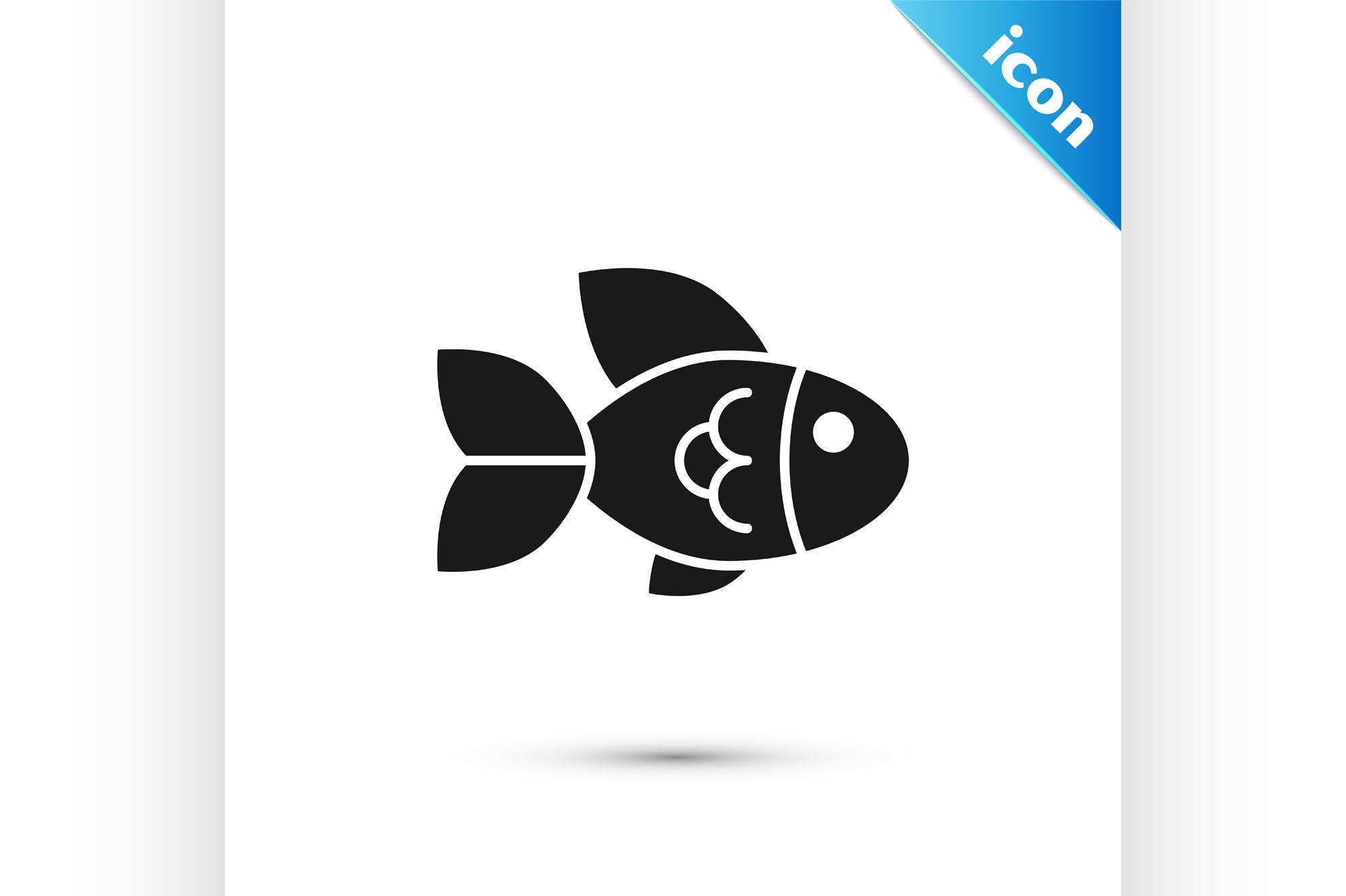 Black Fish Icon Isolated On White Background Vector Illustration