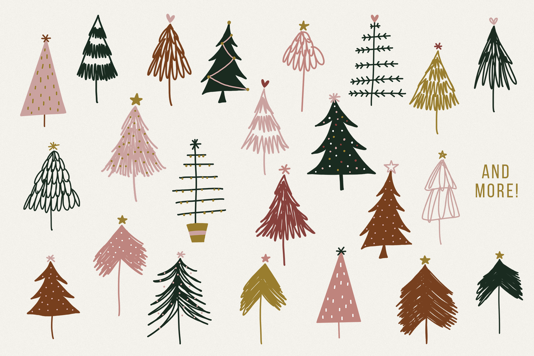 Modern Messy Christmas Tree Illustrations Clip Art By Ka Designs Thehungryjpeg Com