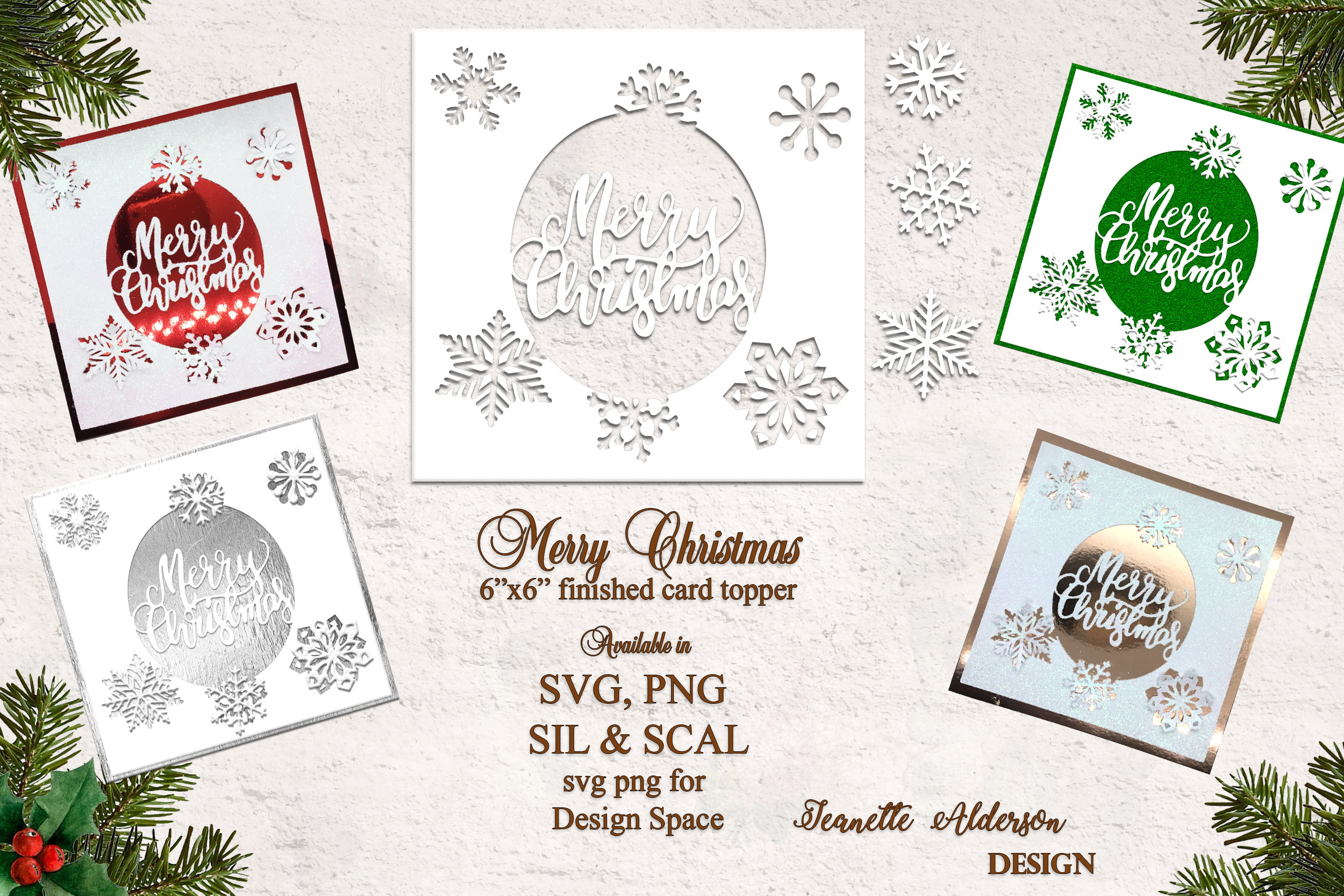 6 Amp Quot X 6 Amp Quot Merry Christmas Card Topper By Jeanette