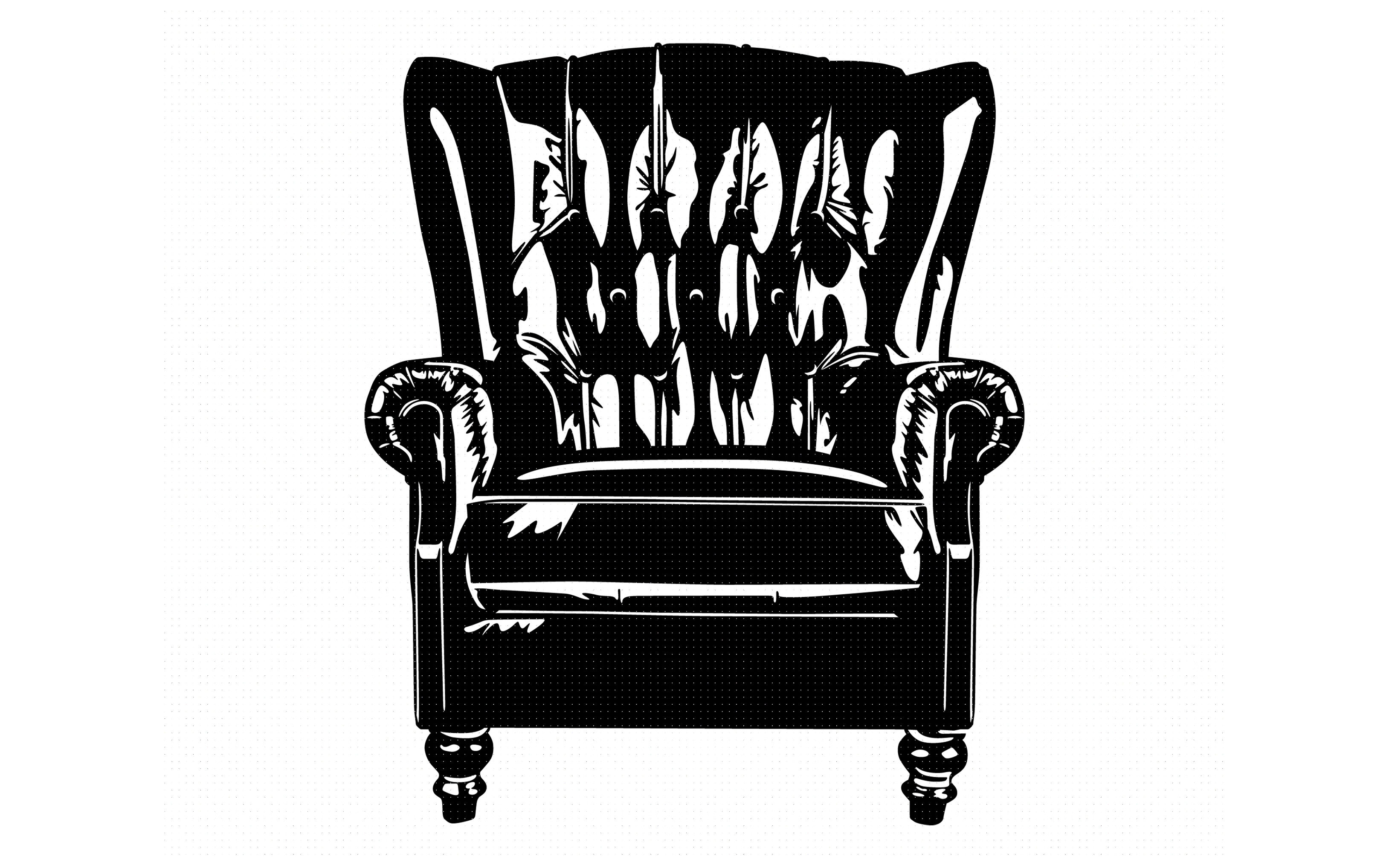 Antique Leather Wingback Chair Svg Dxf Png Eps Cricut