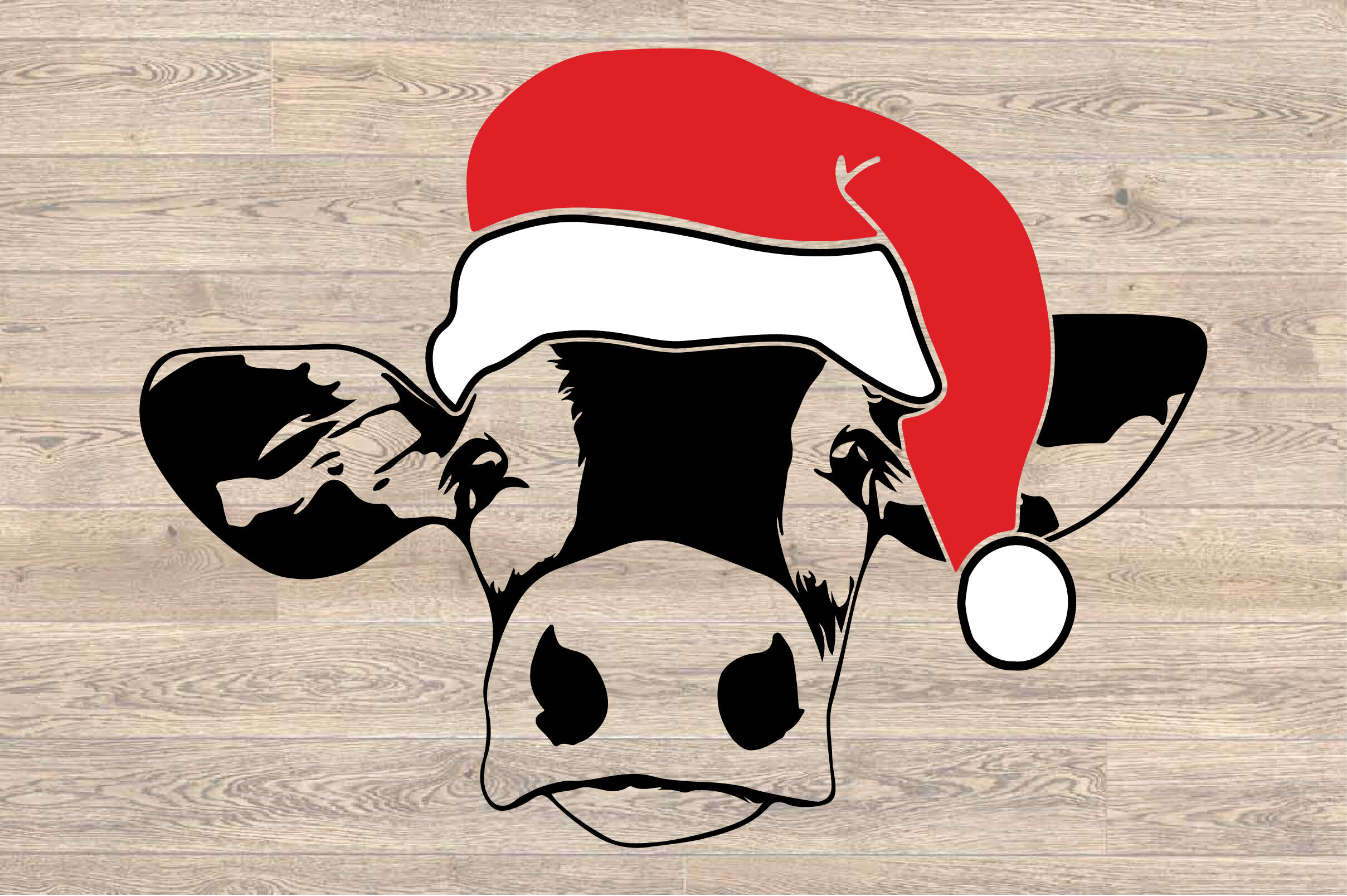 Cow Whit Christmas Hat Svg Farm Heifer Santa Claus 1606s By