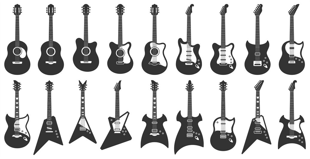 black and white guitars acoustic strings music instruments electric by tartila. Black Bedroom Furniture Sets. Home Design Ideas