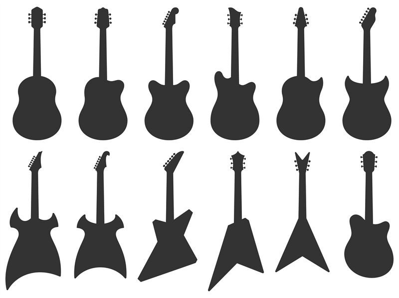 guitar silhouette acoustic jazz guitars musical instruments silhouet by tartila. Black Bedroom Furniture Sets. Home Design Ideas