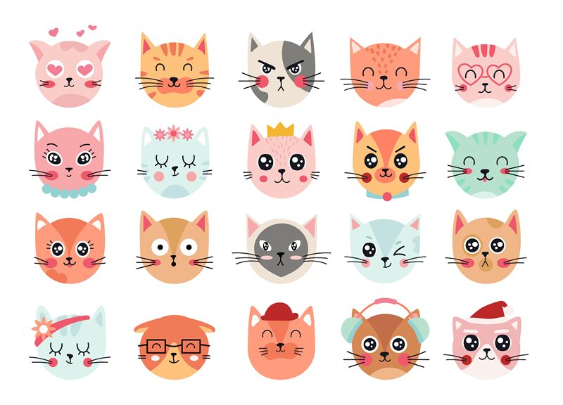 Cute Cats Faces Cat Heads Emoticons Kitten Face Expressions