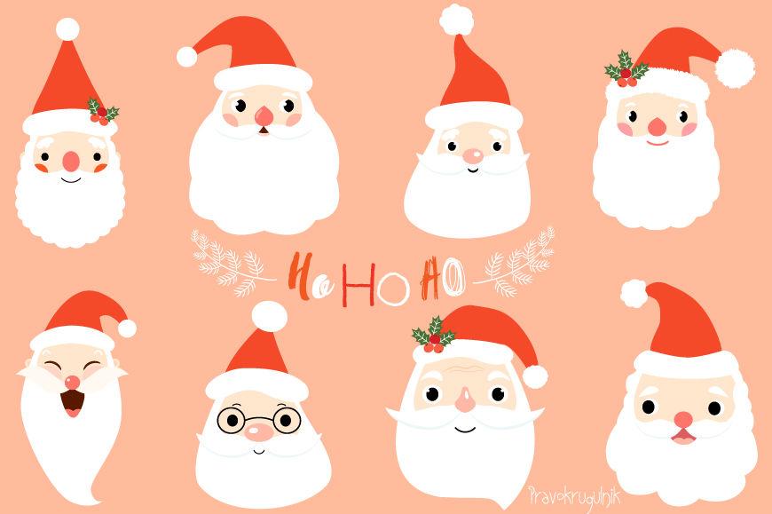 Cute Santa Clipart Set Santa Faces Clip Art Santa Head