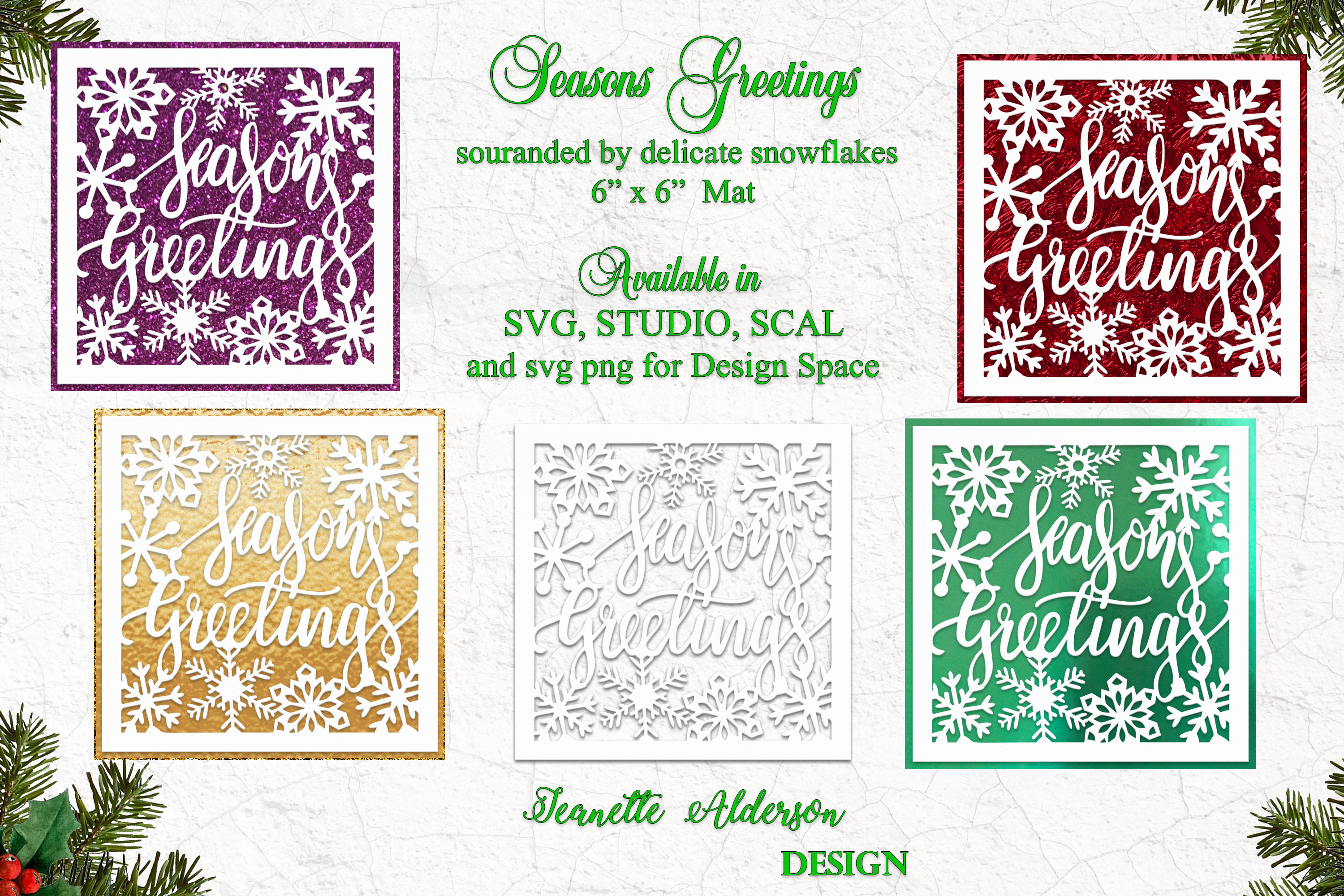 Christmas 6x6 Inch Seasons Greetings Topper And Mat By Jeanette