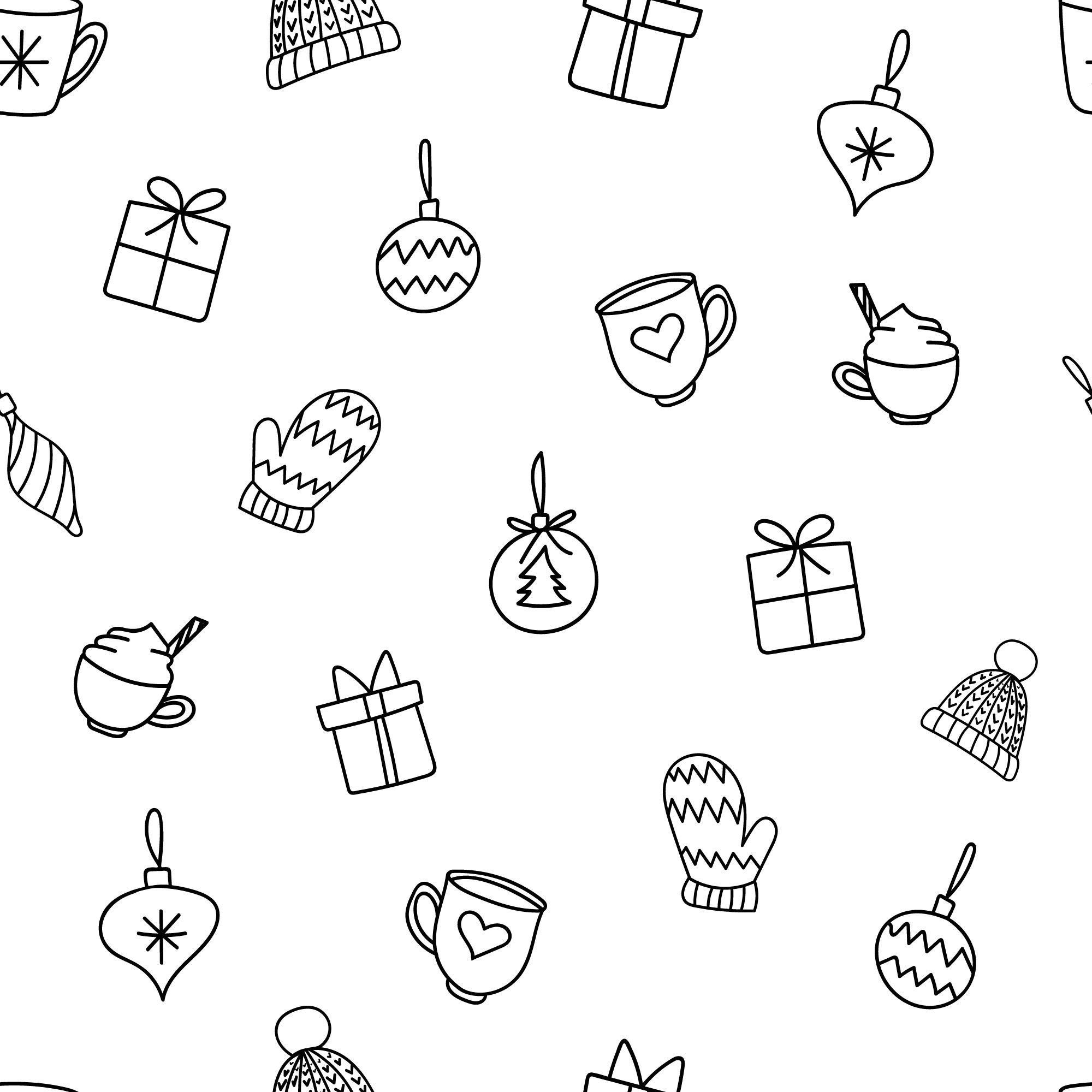 Christmas Decorations Doodles Seamless Repeating Pattern By