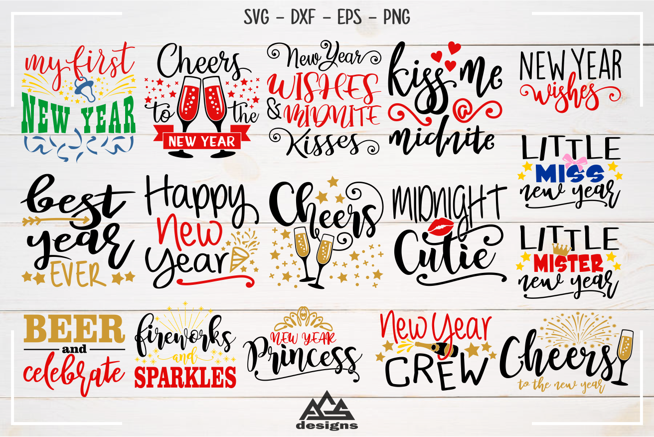 New Year Quotes Bundle Svg Design By Agsdesign Thehungryjpeg Com