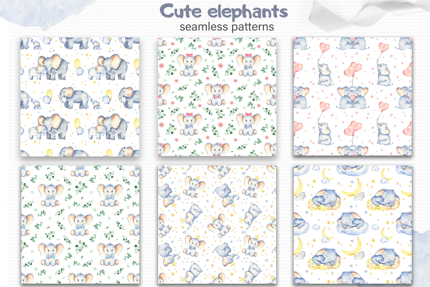Cute Elephants Watercolor Collection Clipart By Marina Ermakova