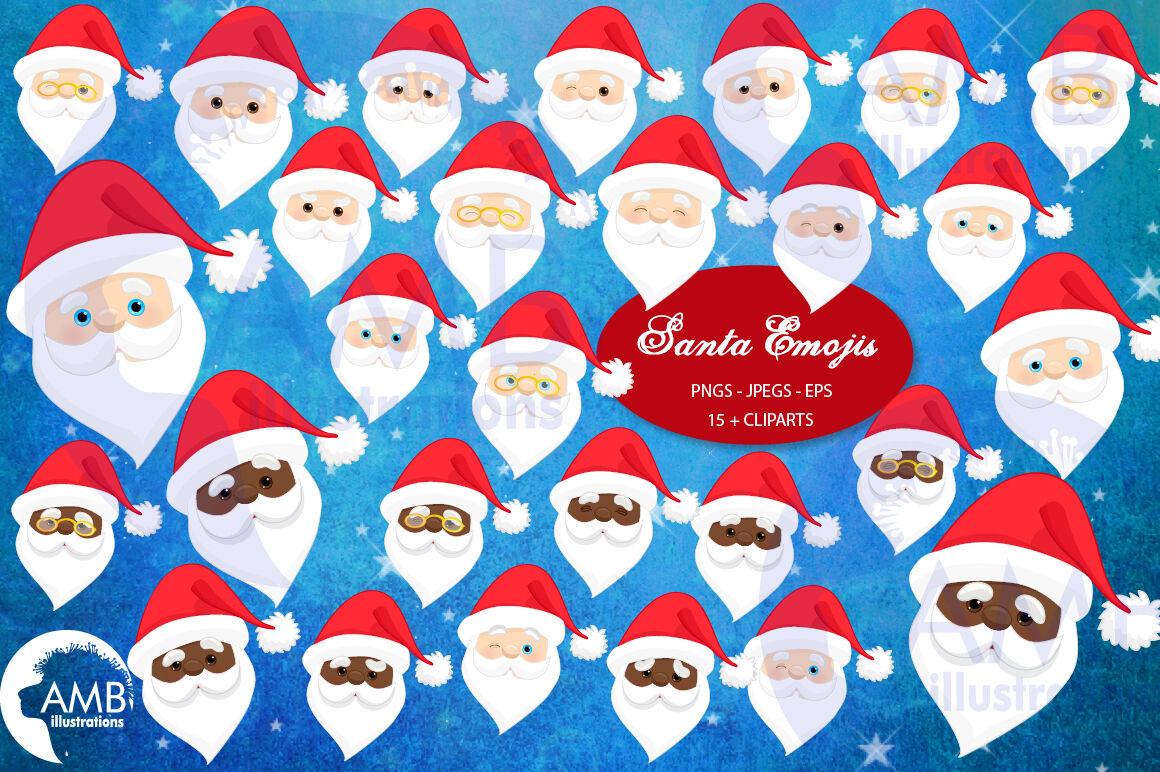 Santa Emoji Santa Claus Emoticons Amb 2697 By Ambillustrations