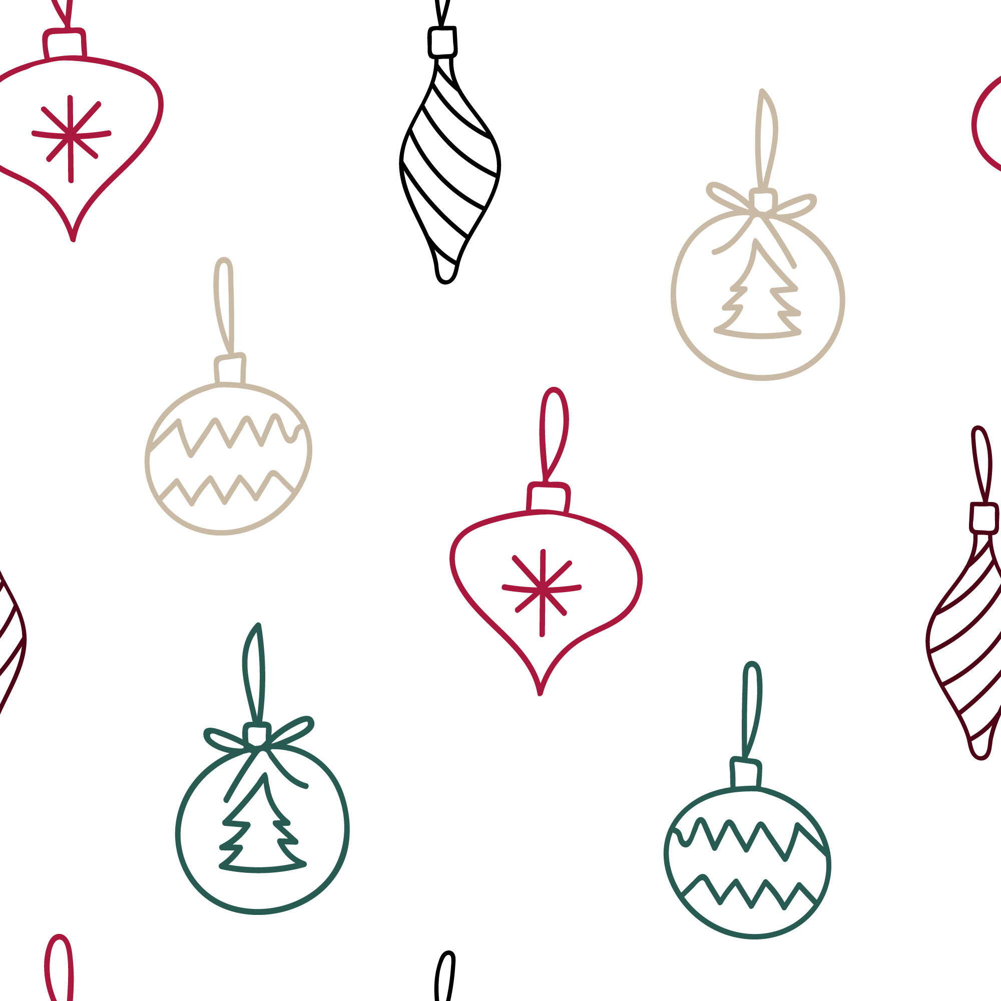 Doodle Christmas Tree Decorations Seamless Repeating Pattern By