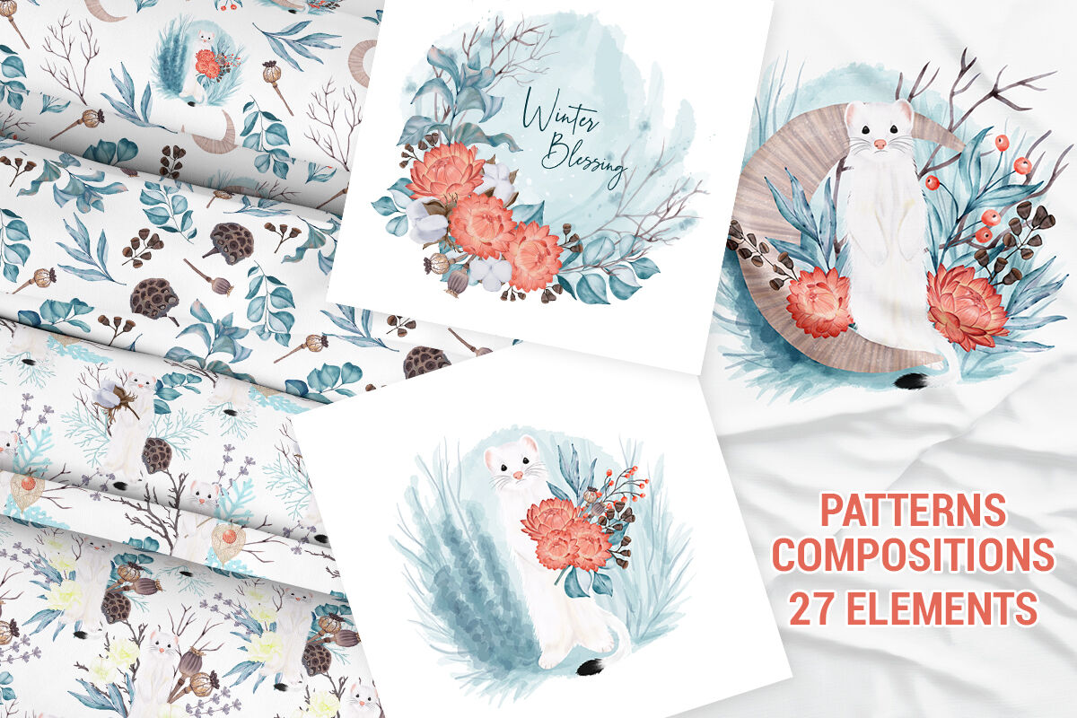Winter Nature Pack Patterns Premade Compositions Wild Animals