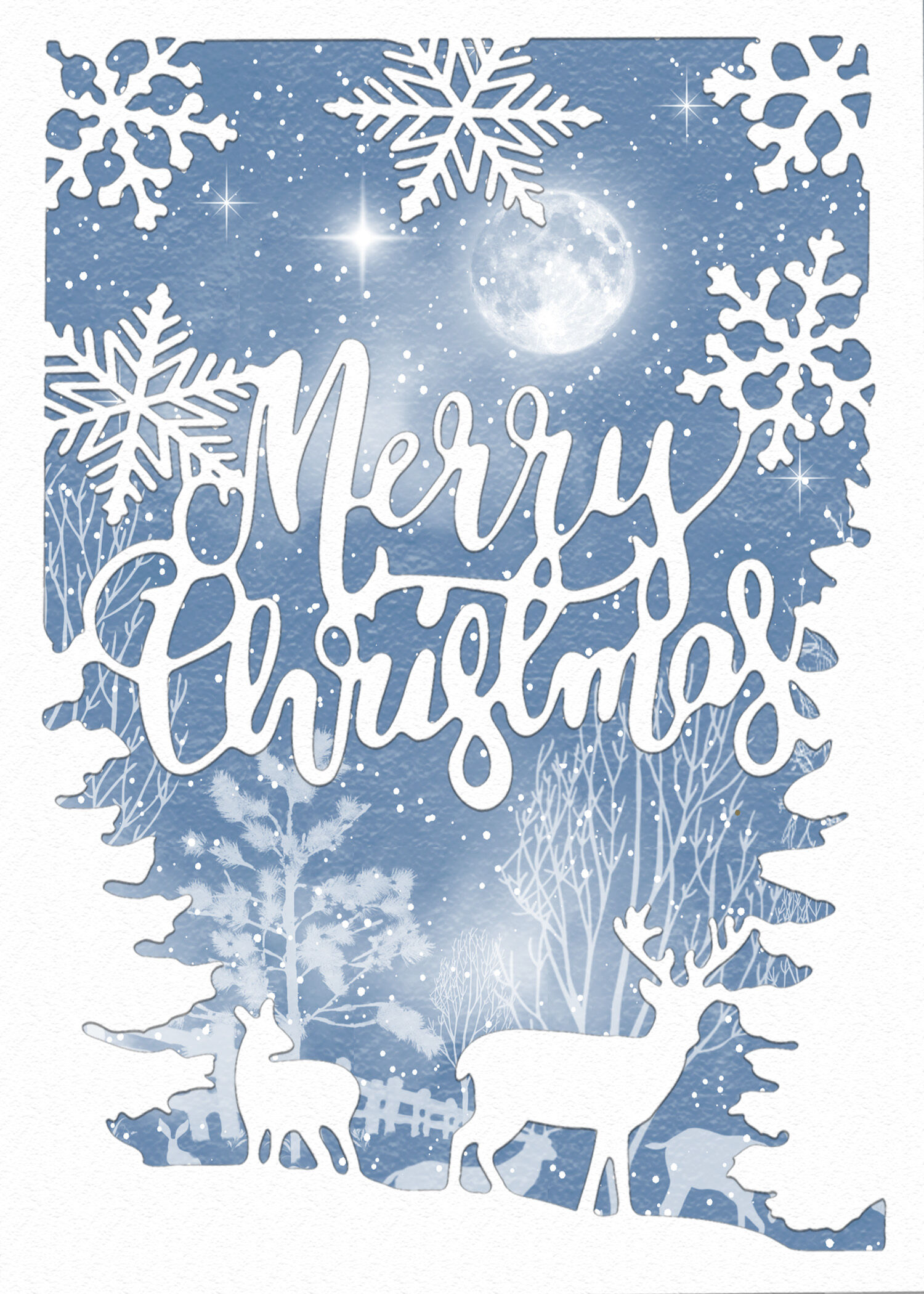 5 X 7 Merry Christmas Reindeer And Snowflake Christmas Card By