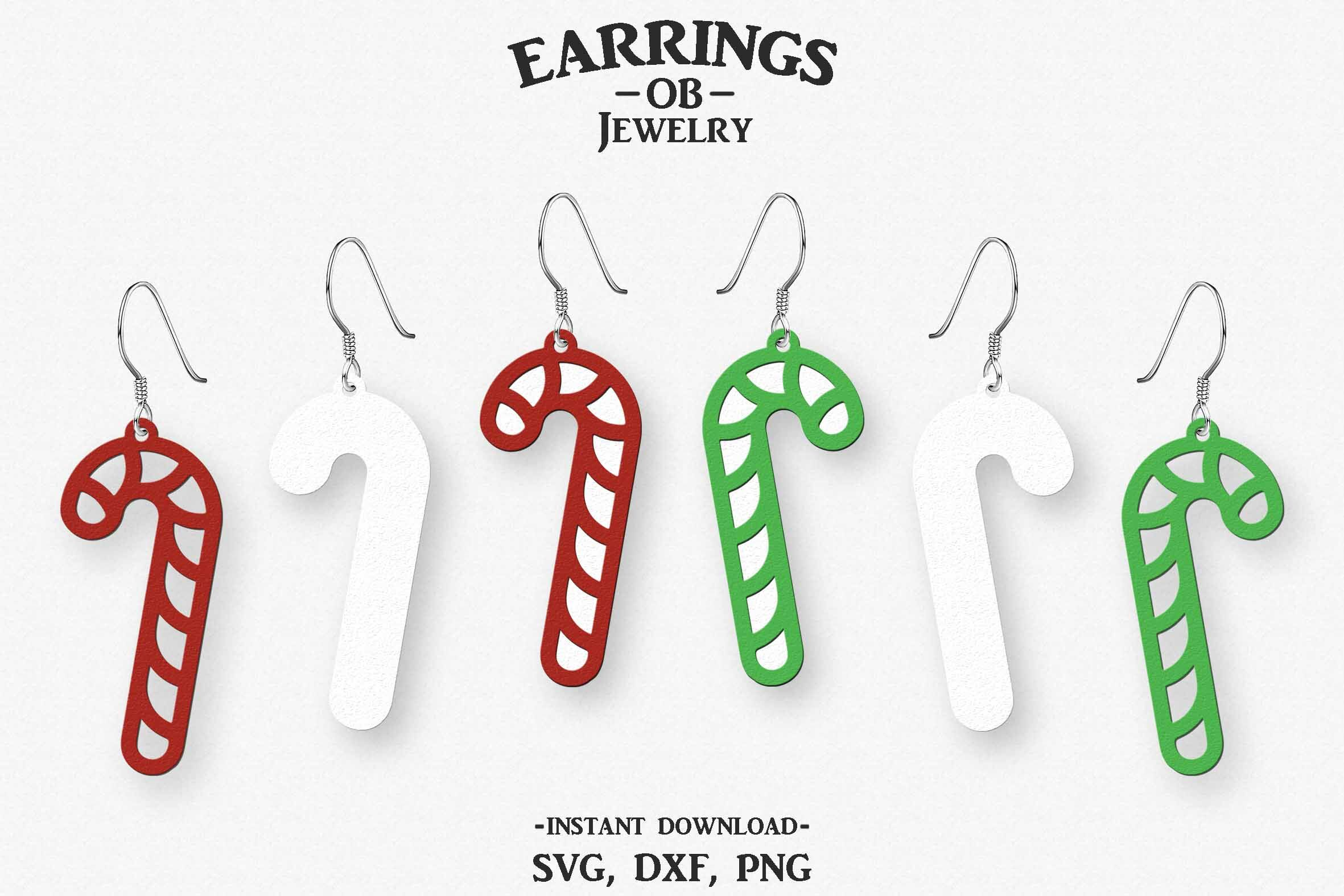 Christmas Earring Svg Candy Cane Earring Stacked Cut File By