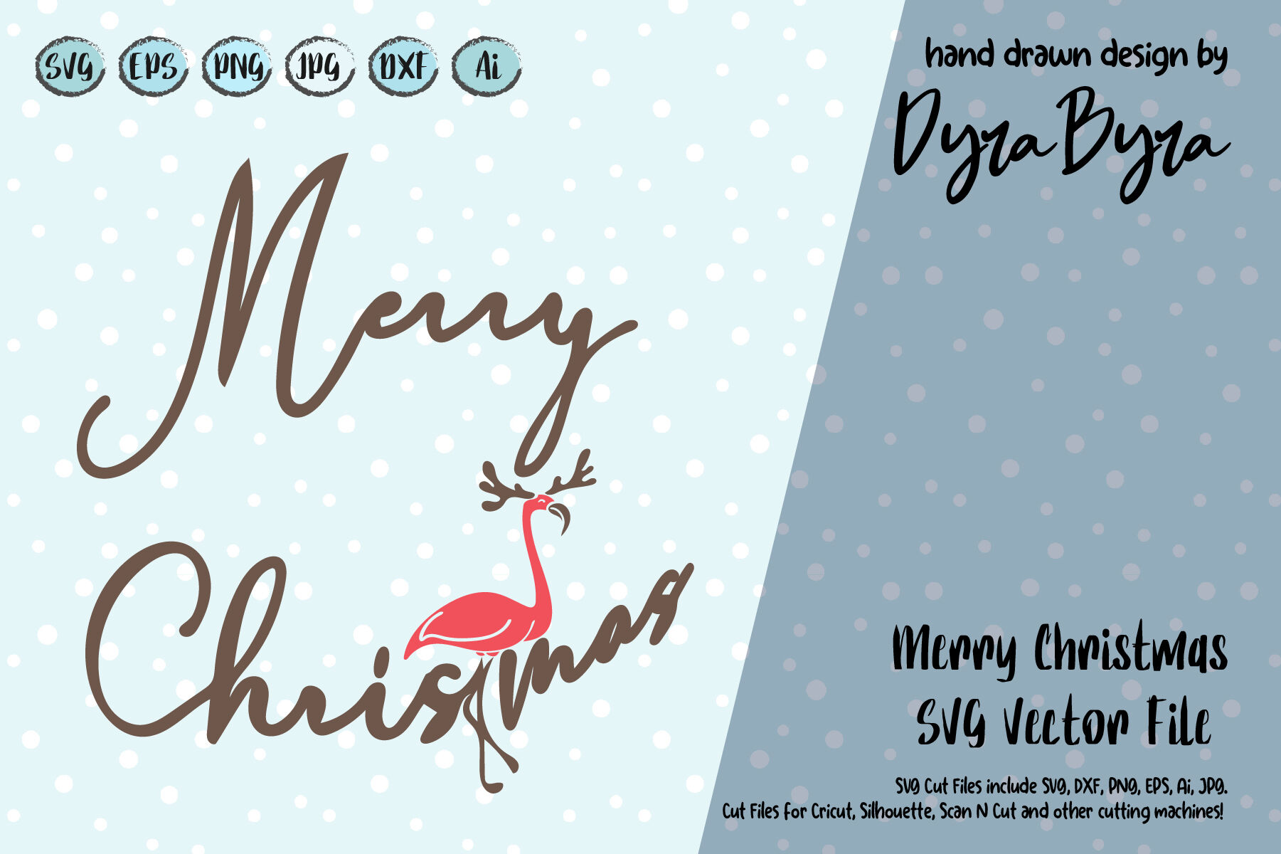 Merry Christmas Svg Flamingo Svg Deer Svg Antlers Svg By