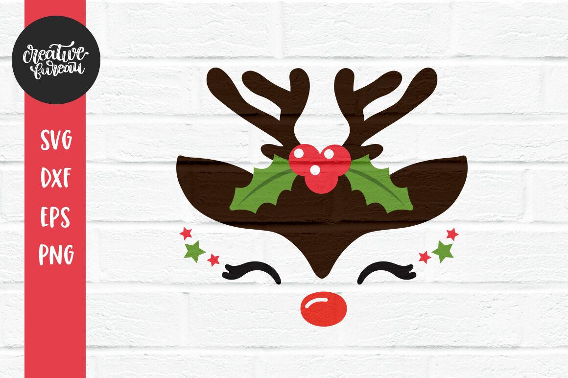 Cute Reindeer Face Svg Dxf Christmas Reindeer Svg Cut Fiile By