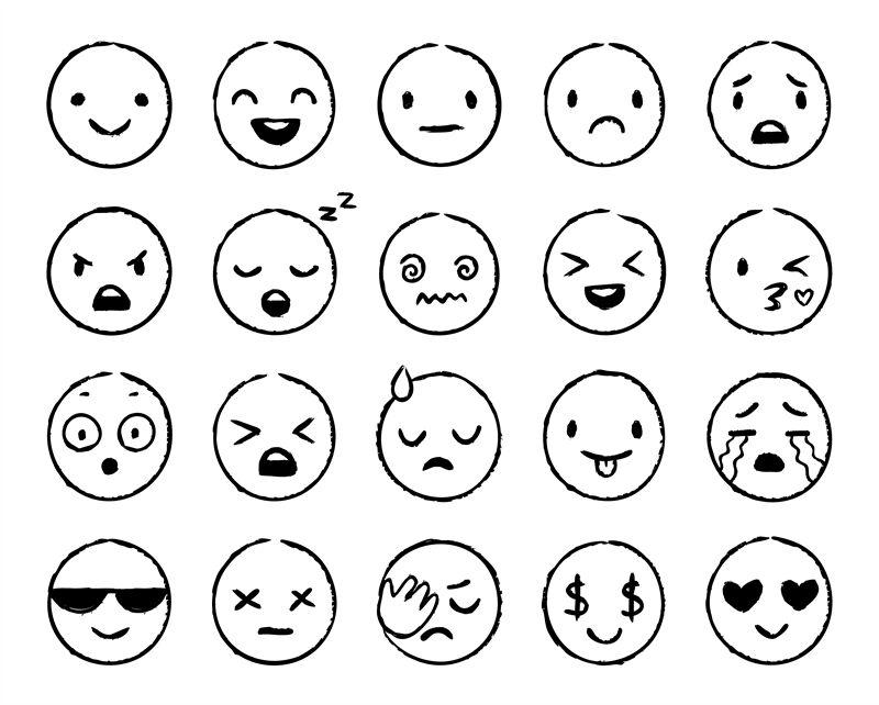 Hand Drawn Emoji Doodle Emoticons Smile Face Sketch And Grunge