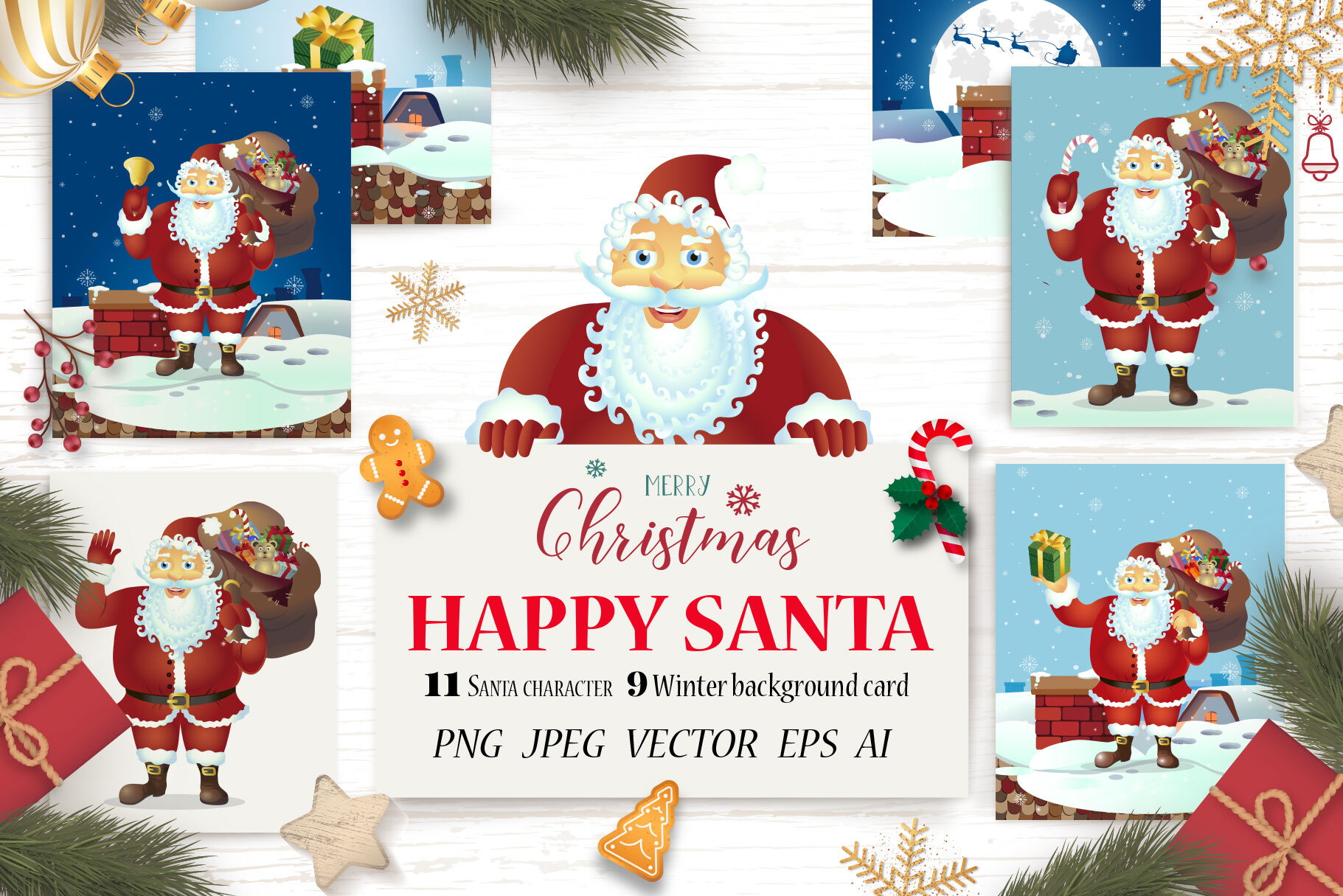 Santa Claus Merry Christmas Set By Nikodzhi Art Thehungryjpeg Com