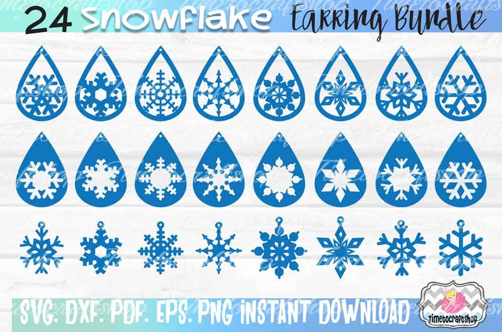 Svg Dxf Pdf Png And Eps 24 Snowflake Earring Template Bundle