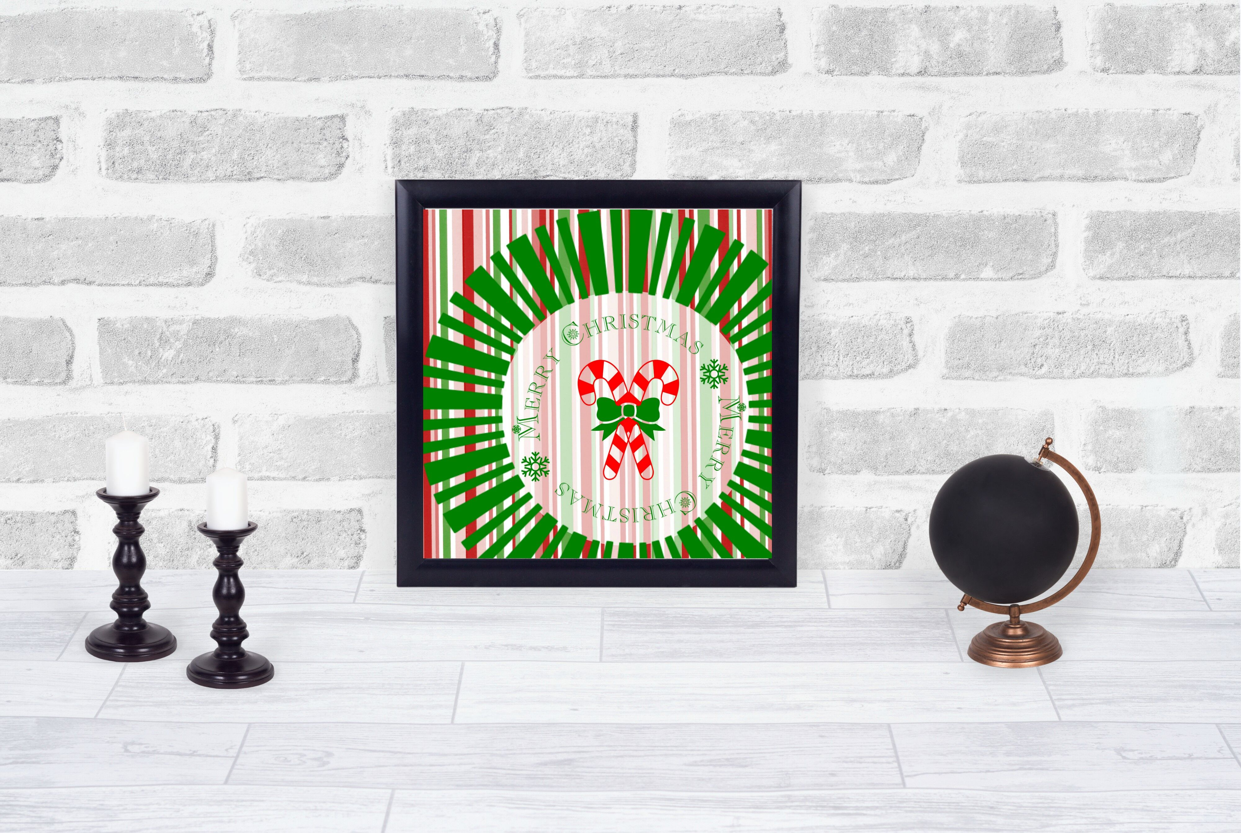 Merry Christmas Candy Cane Printable Available In 3 Sizes 6x6 8x8