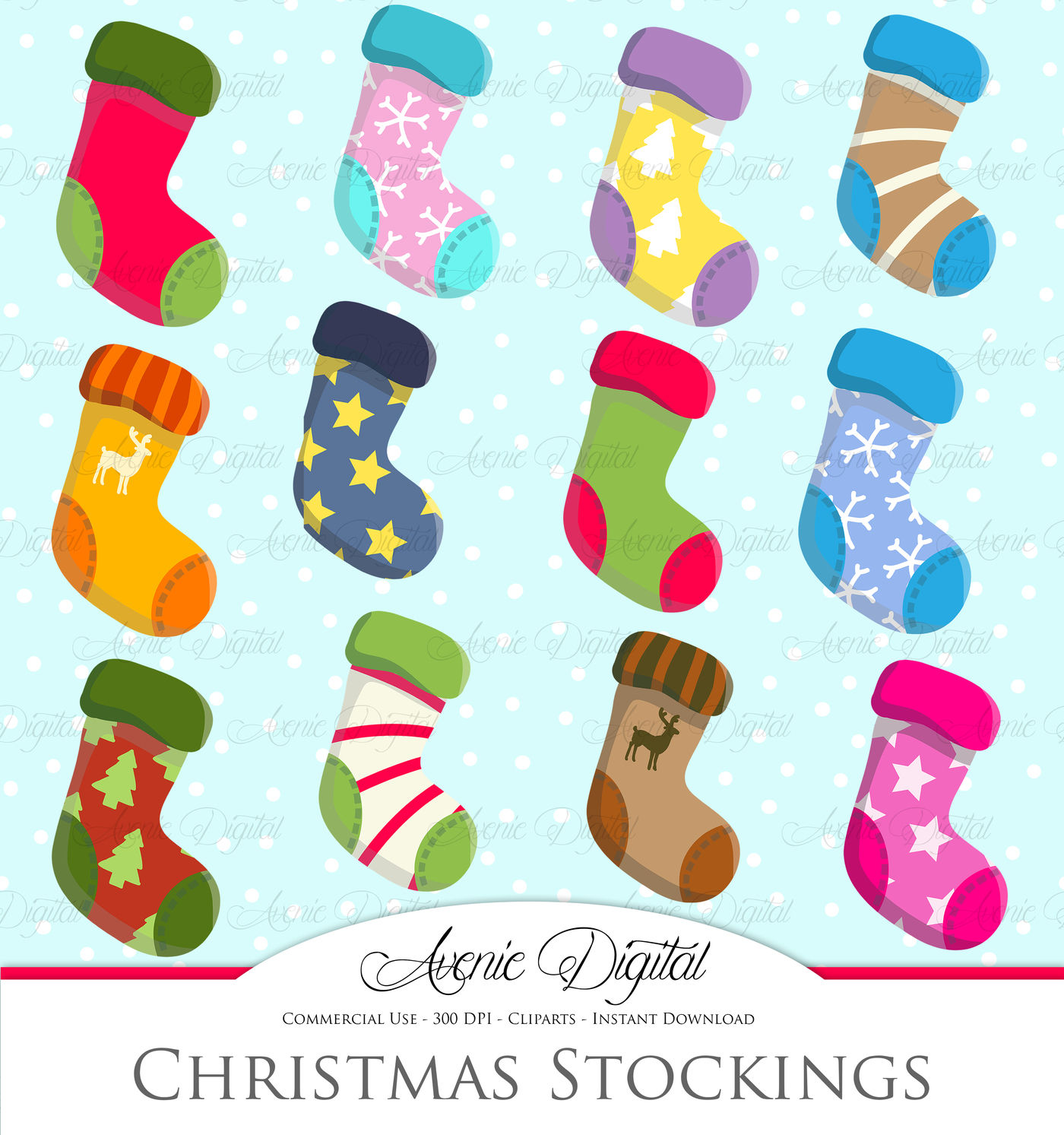 Christmas Stocking Clipart.Christmas Stocking Clipart Vector By Aveniedigital