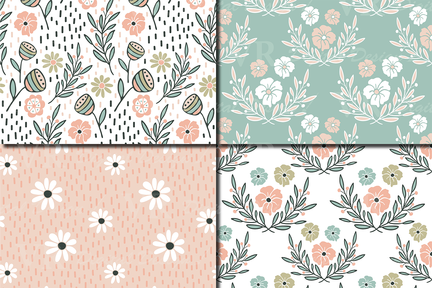Romantic Floral Seamless Digital Paper Pastel Floral Patterns By