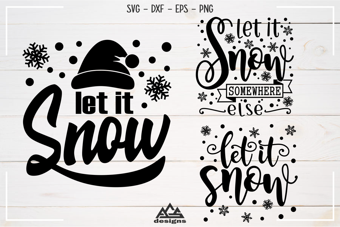 Let It Snow Winter Christmas Svg Design By Agsdesign